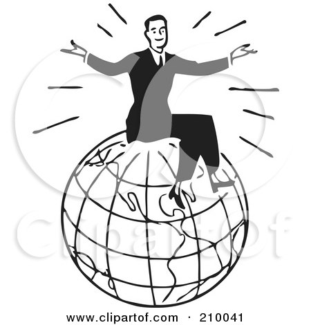 Royalty-Free (RF) Clipart Illustration of a Retro Black And White Man Sitting On Top Of A Globe by BestVector