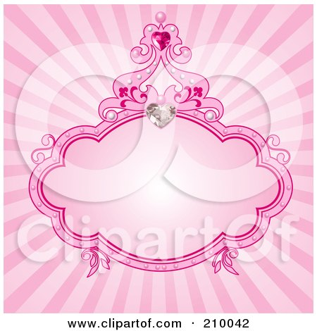Royalty-Free (RF) Clipart Illustration of a Pink Princess Frame With A Heart Diamond Over Pink by Pushkin