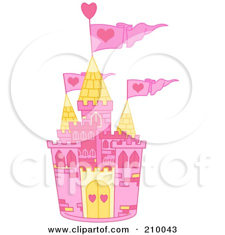 Royalty-Free (RF) Clipart Illustration of a Pink And Yellow Fairy Tale Castle With Pink Heart Flags by Pushkin