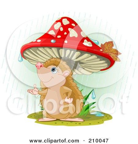 Royalty-Free (RF) Clipart Illustration of a Cute Hedgehog Catching A Raindrop Under A Mushroom by Pushkin
