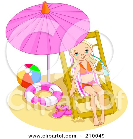 Royalty-free clipart picture of a little girl drinking water and relaxing