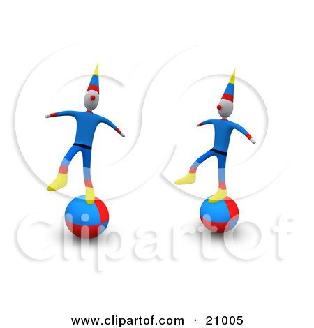 Two Circus Clowns Maintaining Their Balance On Balls Posters, Art Prints