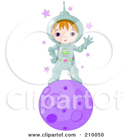 Royalty-Free (RF) Clipart Illustration of a Cute Astronaut Boy Waving And Standing On A Purple Planet by Pushkin