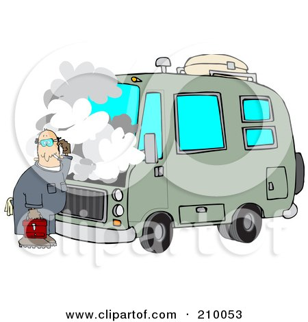 Royalty-Free (RF) Clipart Illustration of a Confused Male Mechanic Working On A Motorhome by djart