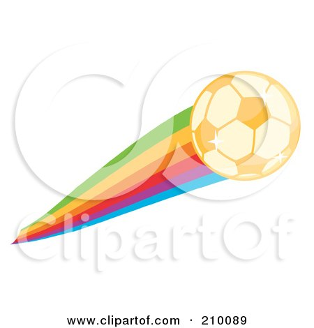 Royalty-Free (RF) Clipart Illustration of a Golden Sparkling Soccer Ball With A Rainbow by Hit Toon