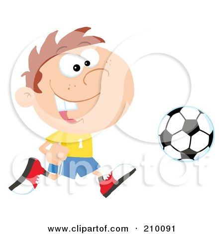Royalty-Free (RF) Clipart Illustration of a Cartoon Soccer Player Boy Running After A Ball by Hit Toon