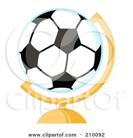 Royalty-Free (RF) Clipart Illustration of a Soccer Ball Desk Globe by Hit Toon