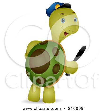 Royalty Free RF Clipart Illustration Of A Cute Security Guard Tortoise Carrying A Baton