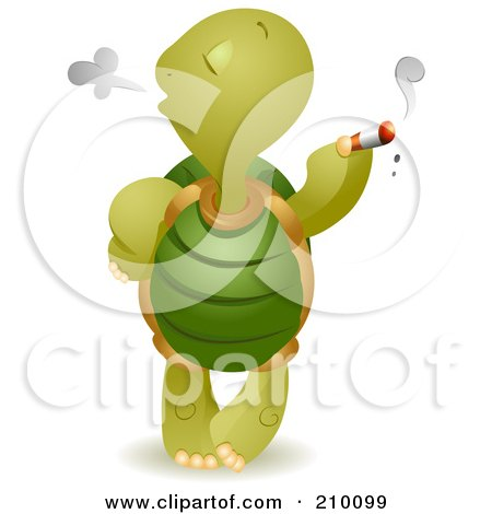 Royalty-Free (RF) Clipart Illustration of a Bad Tortoise Smoking A Cigarette by BNP Design Studio