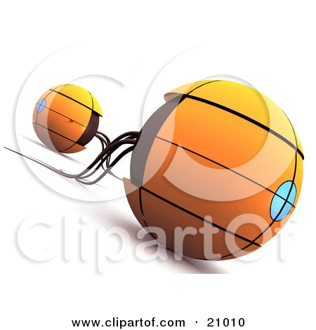 Clipart Illustration of a Two Orange Sphere Space Ships Or Robots by 3poD