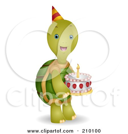 Royalty-Free (RF) Clipart Illustration of a Cute Birthday Tortoise Carrying A Cake by BNP Design Studio