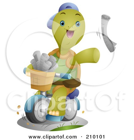Royalty-Free (RF) Clipart Illustration of a Cute Tortoise Paper Boy Tossing Newspapers by BNP Design Studio