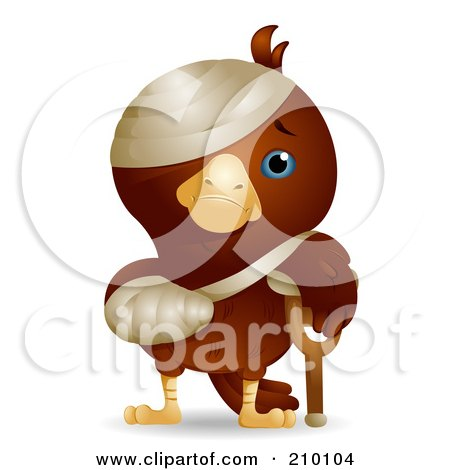 Royalty-Free (RF) Clipart Illustration of a Cute Injured Bird With A Crutch, Cast And Bandages by BNP Design Studio