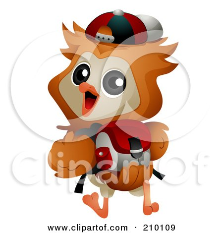 Royalty-Free (RF) Clipart Illustration of a Cute Owl Student Walking To School With A Backpack by BNP Design Studio