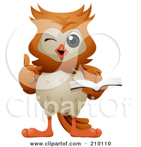Royalty-Free (RF) Clipart Illustration of a Cute Owl Winking, Holding A Thumb Up And Reading A Book by BNP Design Studio
