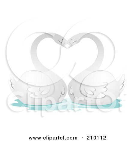 Royalty-Free (RF) Clipart Illustration of a Romantic Swan Pair Arching Their Necks In The Shape Of A Heart by BNP Design Studio