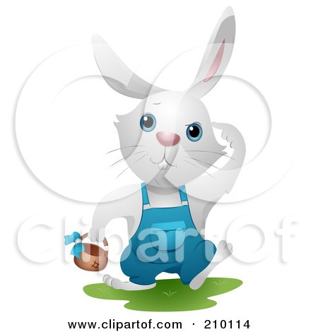 Royalty-Free (RF) Clipart Illustration of a Cute White Bunny Rabbit Hunting Easter Eggs by BNP Design Studio