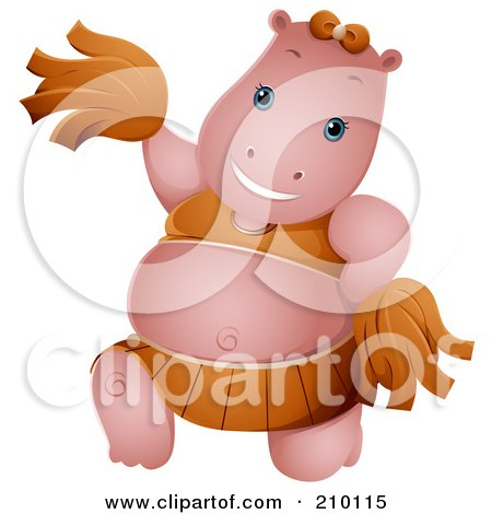 Royalty-Free (RF) Clipart Illustration of a Cute Cheerleader Hippo by BNP Design Studio