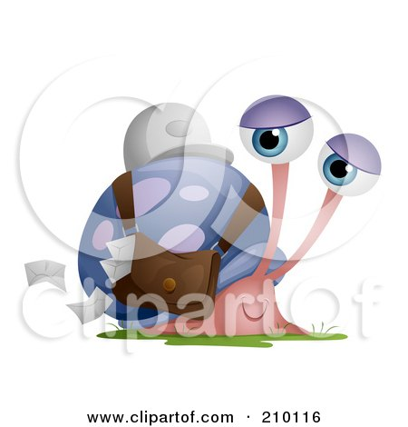 Royalty-Free (RF) Clipart Illustration of a Snail Mail Worker Dropping Envelopes From A Pouch by BNP Design Studio