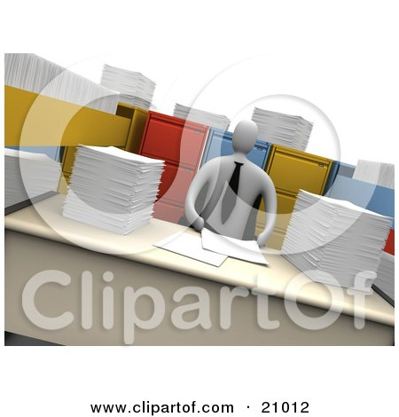 Clipart Illustration of a Businesman With Stacks Of Paperwork And Open File Cabinet Drawers by 3poD