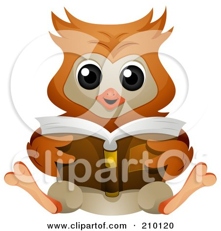 Royalty-Free (RF) Clipart Illustration of a Cute Owl Sitting And Reading A Book by BNP Design Studio