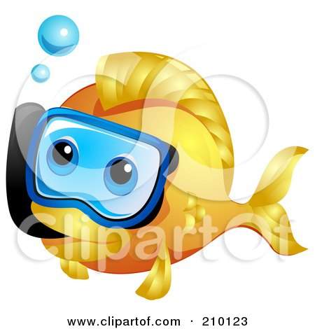 cute goldfish cartoon. Cute Goldfish Snorkeling