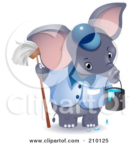 Royalty-Free (RF) Clipart Illustration of a Cute Janitor Elephant With A Mop And Bucket by BNP Design Studio