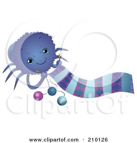 Royalty-Free (RF) Clipart Illustration of a Cute Spider Knitting A Scarf by BNP Design Studio