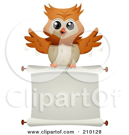 Royalty-Free (RF) Clipart Illustration of a Cute Owl Flying With A Blank Scroll Sign by BNP Design Studio