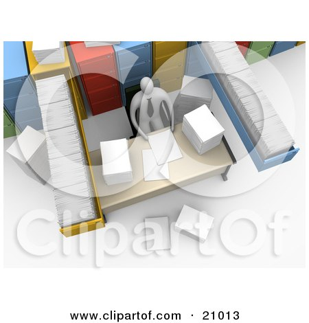 Clipart Illustration of a Busy Employee Seated At A Messy Desk, Surrounded By Filing Cabinets And Paperwork by 3poD