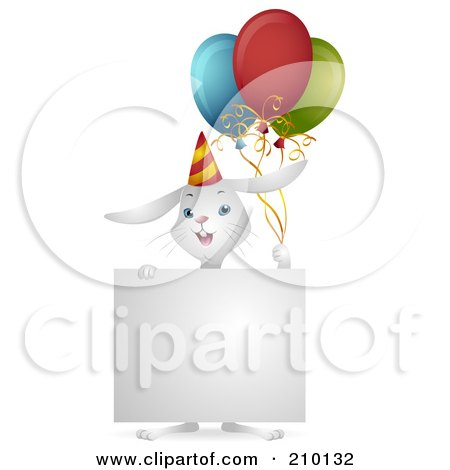 Royalty-Free (RF) Clipart Illustration of a Cute White Birthday Bunny Rabbit With Balloons And A Sign by BNP Design Studio