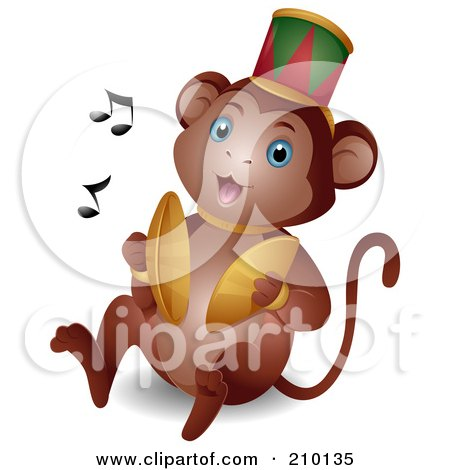 Royalty-Free (RF) Clipart Illustration of a Cute Circus Monkey Banging Cymbals by BNP Design Studio