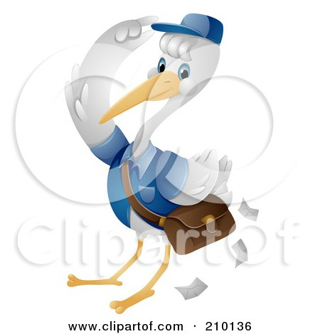 Royalty-Free (RF) Clipart Illustration of a Cute Stork Saluting While Delivering Mail by BNP Design Studio