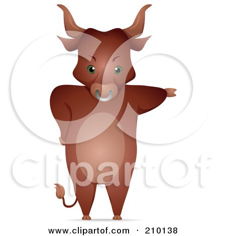 Royalty-Free (RF) Clipart Illustration of a Bull Standing Upright And Pointing With One Arm by BNP Design Studio