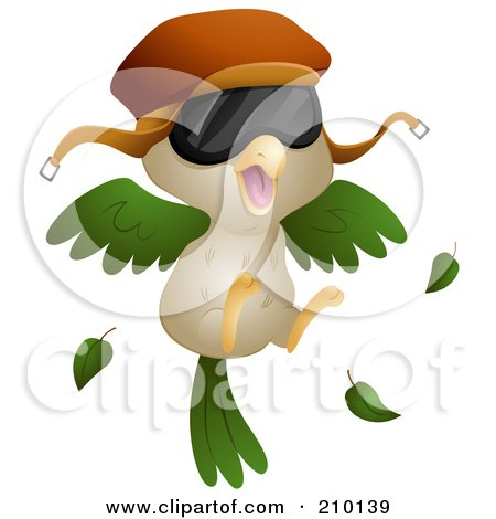 Royalty-Free (RF) Clipart Illustration of a Bird Pilot Wearing A Hat And Shades by BNP Design Studio