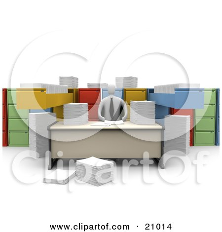 Clipart Illustration of a Businessman Working At A Desk, Surrounded By Papers And Unorganized File Cabinets by 3poD