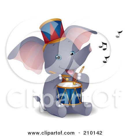 Royalty-Free (RF) Clipart Illustration of a Cute Circus Elephant Playing A Drum by BNP Design Studio