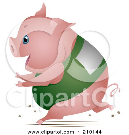 Royalty-Free (RF) Clipart Illustration of a Chubby Pig Running In A Race by BNP Design Studio