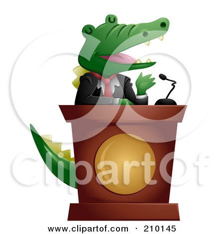 Cute Politician Crocodile Giving A Speech Posters, Art Prints