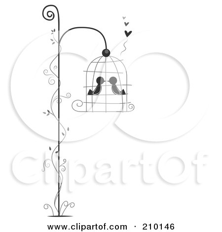 Royalty-Free (RF) Clipart Illustration of Two Birds Smooching In A Hanging Bird Cage With A Vine by BNP Design Studio