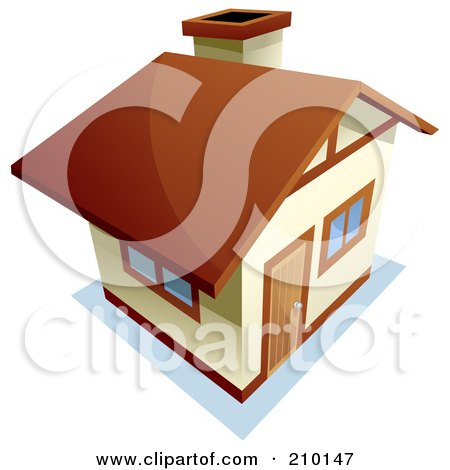 Royalty-Free (RF) Clipart Illustration of a View Down On A Beige And Brown Home by BNP Design Studio