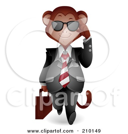 Royalty-Free (RF) Clipart Illustration of a Cute Monkey Businessman Walking Forward And Adjusting His Shades by BNP Design Studio