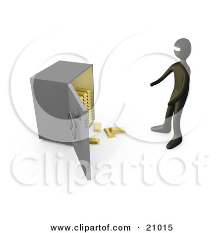 Clipart Illustration of a Bank Robber Standing Before An Open Safe, Gold Bars Spilling Out by 3poD