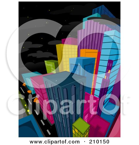 Royalty-Free (RF) Clipart Illustration of a Starry Sky Above A Colorful City At Night by BNP Design Studio