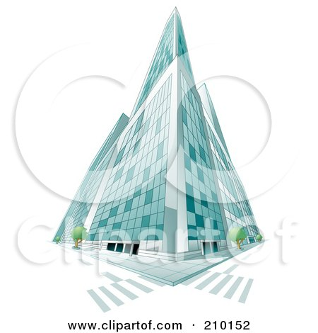 Royalty-Free (RF) Clipart Illustration of a Low Perspective Of A Tall Glass City Building by BNP Design Studio
