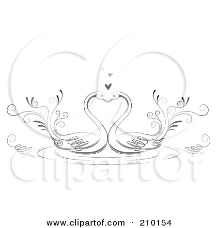 Royalty-Free (RF) Clipart Illustration of a Pair Of Romantic Swans Smooching by BNP Design Studio