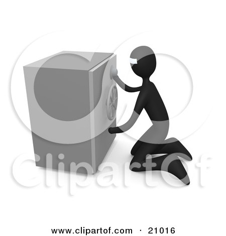 Clipart Illustration of a Bank Robber Kneeling In Front Of A Safe, Trying To Break In. by 3poD