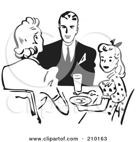 Royalty-Free (RF) Clipart Illustration of a Retro Black And White Family Eating At A Table by BestVector