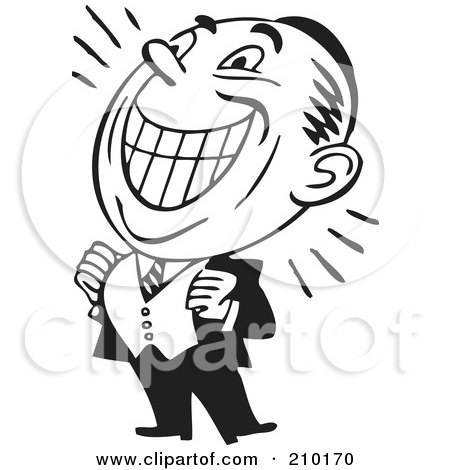 Royalty-Free (RF) Clipart Illustration of a Retro Black And White Grinning Businessman by BestVector