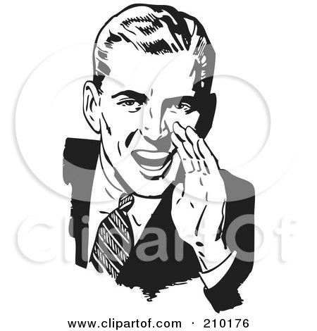 Royalty-Free (RF) Clipart Illustration of a Retro Black And White Man Cupping His Hand Around His Mouth by BestVector